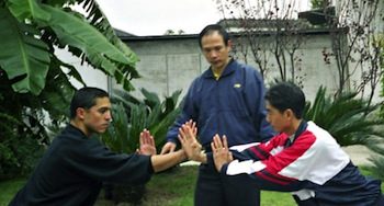 Grandmaster Lv teaching Rudy and Hua Pin