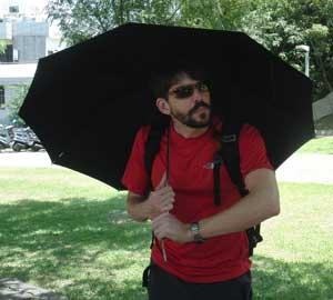 Kai under umbrella