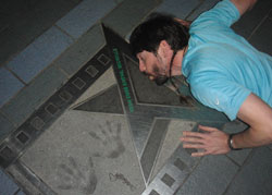 Kissing the Michelle Yeoh memorial on the walk of stars
