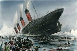 lifeboats fleeing the titanic